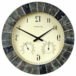 AcuRite 02418 14-Inch Faux-Slate Indoor/Outdoor Wall Clock w