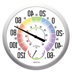 """104-1534A La Crosse 13.5"""" Round Indoor/Outdoor Dial Thermome"""