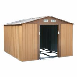 10x9x6 ft Outdoor Steel Storage House Garden Tool House Shed