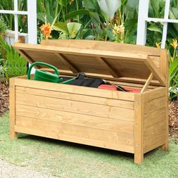 16.5 Gallon Wood Storage Bench Deck Outdoor Seating 35.5