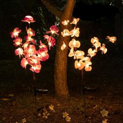2 pack Orchid Flowers Solar Garden Stake Lamp For Yard Outdo