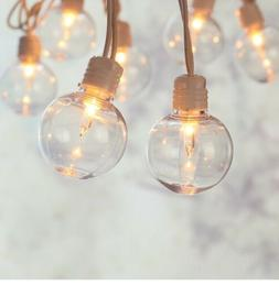 20-Count Indoor/Outdoor Clear String Lights, White Cord