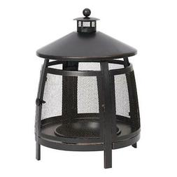 Mainstays 22 Inch Round Steel Wood Burning Outdoor Chiminea