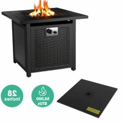 28''Outdoor Propane Gas Fire Pit Table 50,000 BTU Square Gas