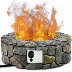 28'' Propane Gas Fire Pit Outdoor 40,000 BTUs Stone Finish L