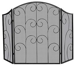 Uniflame 3 Panel Black Wrought Iron Screen with Decorative S
