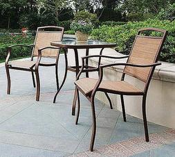 3 Piece Patio Set Tan Sling Outdoor Bistro Deck 2 Chairs & G