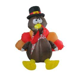 4' Inflatable Lighted Thanksgiving Turkey Outdoor Decoration