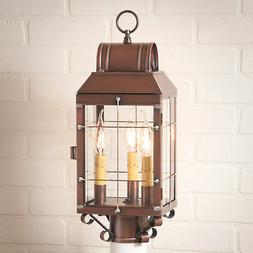 ANTIQUE COPPER OUTDOOR POST LANTERN Classic Colonial Pathway