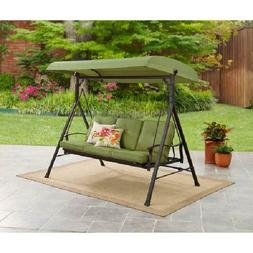 Mainstays Belden Park Outdoor 3-Seat Porch Swing and Bed wit