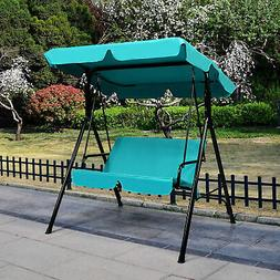 Blue Outdoor Swing Canopy Patio Swing Chair 2-Person Canopy