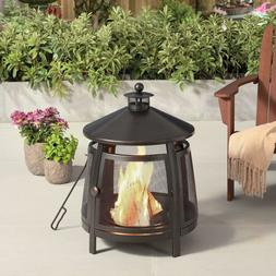22 Inch Round Steel Wood Burning Outdoor Chiminea Fire Pit B