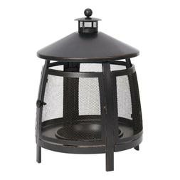 Chiminea 22-Inch Round Steel Wood Burning Fire Pit Outdoor B