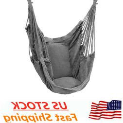 deluxe hanging rope chair porch swing yard