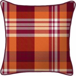 """Mainstays Fall Plaid Outdoor 16"""" Square Toss Pillow- Set of"""