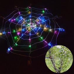 Halloween LED Spider Web Outdoor Horror Party Props Light Up