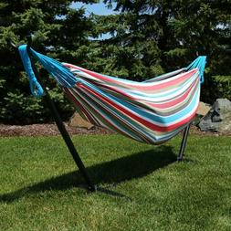 Double Hammock Bed with Steel Stand Camping Bed Garden Outdo
