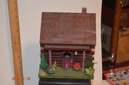 Hand Made & Painted Log Cabin birdhouse Decorated Cozy Indoo