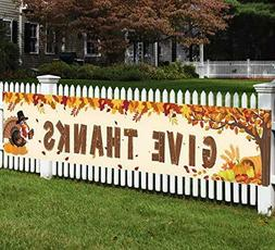 Happy Fall Banner Decorations - Give Thanks Thanksgiving Day