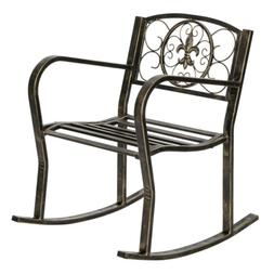 Indoor/Outdoor Rocking Chair Wrought Iron Porch Patio Relax