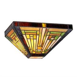 """INNES Tiffany-style 1 Light Mission Wall Sconce 12"""" Wide"""
