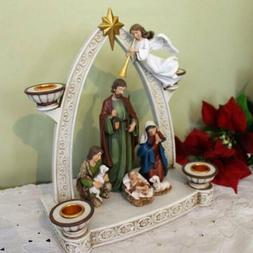 Large Advent Wreath Nativity Scene and Adoring Angel Indoor