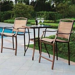 Large Outdoor Bistro Set High Top Table 2 Chairs Cushions Pa