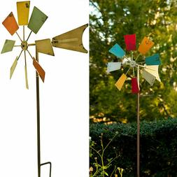 Metal Windmill Stake Garden Decor Spinner Wind Yard Lawn Out