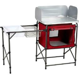 Outdoor Grill Table Top Deluxe Camp Kitchen with Storage and