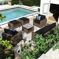 Outdoor Patio 7 Pieces Sofa Sets Sectional Furniture Couch C