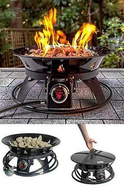 Outdoor Portable Fire Pit Propane Gas Cover & Carry Kit 21in