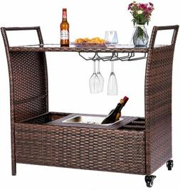 VIVOHOME Outdoor Rolling Wicker Bar Cart with Ice Bucket Wit