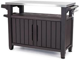Outdoor Serving Station Prep Table Stainless Top Resin Stora