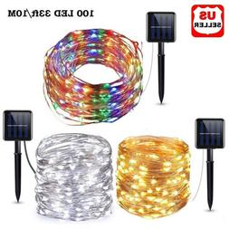 Outdoor Solar Powered 33Ft 10m 100 LED Copper Wire Waterproo