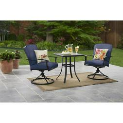 Patio Furniture Set Swivel Chairs Glass Top Table 3 Piece Ou
