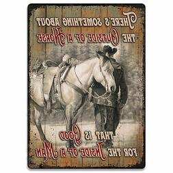 River's Edge Products Tin Sign 12in x 17in - Outside of Hors