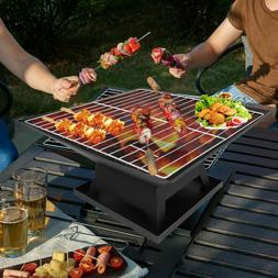 Outdoor Round Black Propane Gas Fire Pit Bowl Portable Fireb