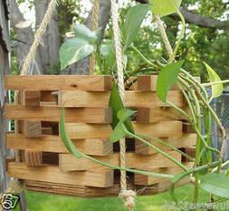 Stained Hexagon Octagon wood wooden bucket hanging planter p