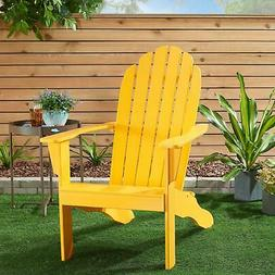 Mainstays Wooden Outdoor Adirondack Chair, Yellow Finish, So